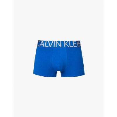 カルバンクライン CALVIN KLEIN メンズ ボクサーパンツ インナー・下着 Logo-print mid-rise stretch-jersey trunks Celtic Blue