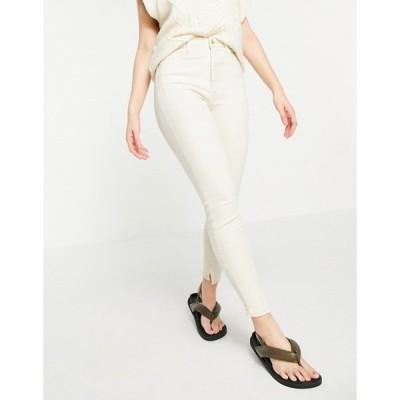 リバーアイランド レディース デニムパンツ ボトムス River Island high rise straight cut jeans with slit hem in ecru