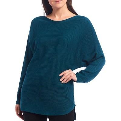レバ レディース カットソー トップス Lyndsey Bateau Neck Hi-Low Hem Long Sleeve Ribbed Tunic Sweater Deep Pine