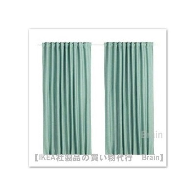 IKEA/イケア VILBORG/ヴィルボリ 遮光カーテン(わずかに透光)1組145x250 cm グリーン