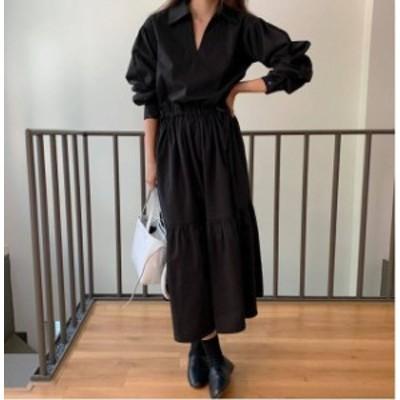 スキッパー シャツワンピース ロング丈 長袖 ブラック ウエストリボン レディース ファッション 韓国 オルチャン