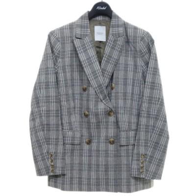 ROSE BUD 600-9121009 チェック柄ダブルジャケット グレー サイズ:F (京都店) 210202