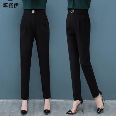 (品がいい)黒のプロのハーレムパンツレディースズパンツワイルドシンハイウエストパンツの韓国版2021新しいストレートスーツパンツ
