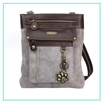 【新品】Chala Paw Print 3-in-1 Gemini Crossbody Handbag, Dog Lovers Gift (Gray)(並行輸入品)
