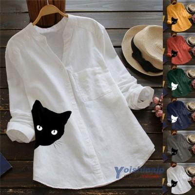 【二枚目半額】ブラウス シャツ レディース 長袖 リネンシャツ トップス 大きいサイズ ネコ柄 綿麻 カジュアル かわいい