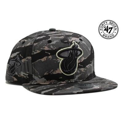 47ブランド スナップバックキャップ 帽子 47BRAND メンズ レディース NBA マイアミ ヒート 迷彩 gy ptn
