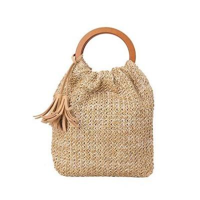 KAKAP レディース かごバッグ 巾着 編みかご 編みバック ストローバッグ 手提げバッグ 小さめ ハンドバッグ 鞄 ?