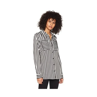 Fox Junior's Jail Break Long Sleeve Woven Top, Black/White, M