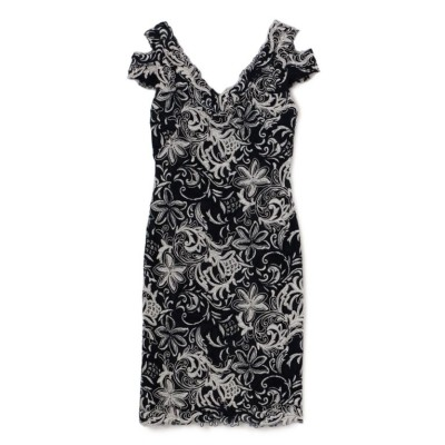 【TADASHI SHOJI】ネイビー フラワーリーフレース Vネックドレス