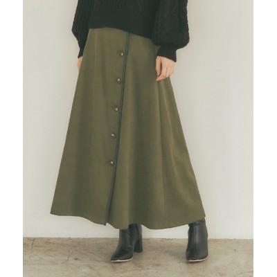フェイクスエードレザーパイピングスカート
