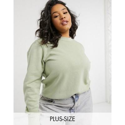 リーボック レディース シャツ トップス Reebok Plus natural dye central logo sweatshirt in harmony green Green