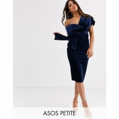 エイソス ASOS Petite レディース ワンピース ペンシル ミドル丈 ASOS DESIGN Petite velvet fallen shoulder midi pencil dress with ti