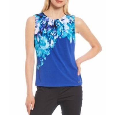 カルバンクライン レディース タンクトップ トップス Placement Floral Print Matte Jersey Pleat Neck Top Capri Multi