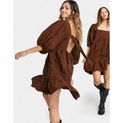 エイソス ASOS DESIGN レディース ワンピース ティアードドレス ワンピース・ドレス Circular Tiered Mini Smock Dress In Brown ブラウ