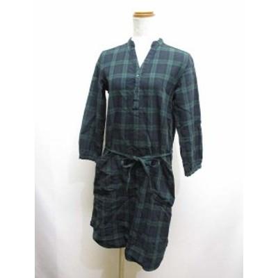 【中古】ナチュラルランドリー NATURAL LAUNDRY タータンチェック 長袖 ワンピース 2 グリーン系 綿100% 日本製