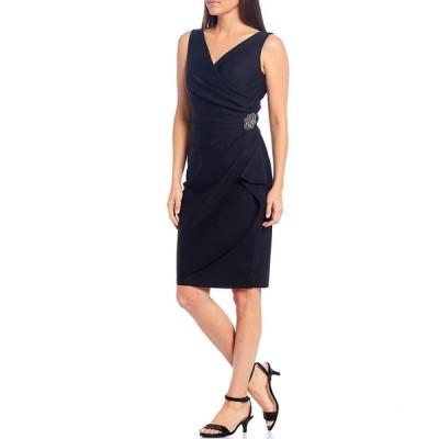 アレックスイブニングス レディース ワンピース トップス V-Neck Sleeveless Ruched Sheath Dress Black