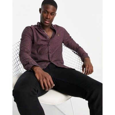 ファーラー メンズ シャツ トップス Farah kreo slim fit long sleeve shirt Red