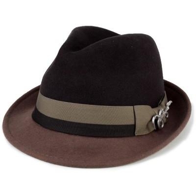 フェルト ハット 帽子 メンズ カルロス サンタナ 2トーン ショートブリム フェドラ ギターバッジ 中折れ ブラウン トープ