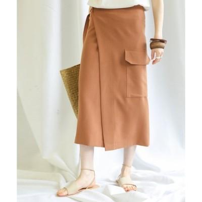 スカート アウトフラップポケット巻きスカート/ミモレ丈ビックポケットデザインラップスカート