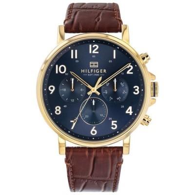 トミー ヒルフィガー メンズ 腕時計 アクセサリー Men's Brown Leather Strap Watch 44mm