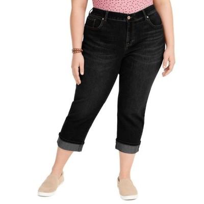 スタイルアンドコー レディース デニムパンツ ボトムス Plus Size Tummy-Control Cropped Cuffed Jeans