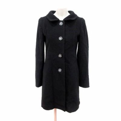 【中古】シンシアローリー CYNTHIA ROWLEY コート ステンカラー 総裏地 ビジュー ウール 2 黒 レディース