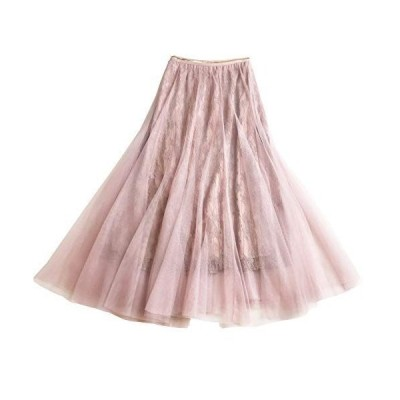 [コートリーバ] スカート チュール レース ロング フレア ギャザー Aライン 裏地付き ウエストゴム 普段着 ピンク