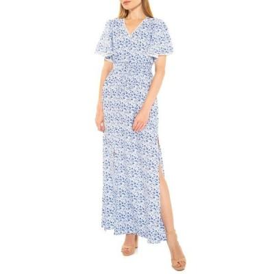アレクシアアドマー レディース ワンピース トップス Gianna V-Neck Flutter Sleeve Maxi Dress PAINTED BLUE FLORAL