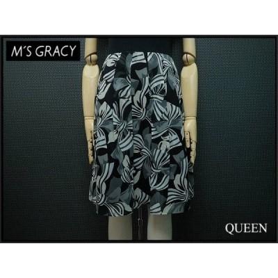 送料無料!M'S GRACY リボン柄スカート・36△エムズグレイシー/ひざ丈スカート/黒 白 グレー/総柄@¨