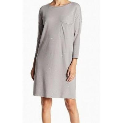 ファッション ドレス ATM Womens Distressed Ripped Gray Size XS Tunic T-Shirt Shirt Dress