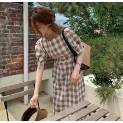 ギンガムチェック ワンピース ロング リボン タイト 半袖 大人可愛い フェミニン レトロ 韓国 オルチャン ファッション
