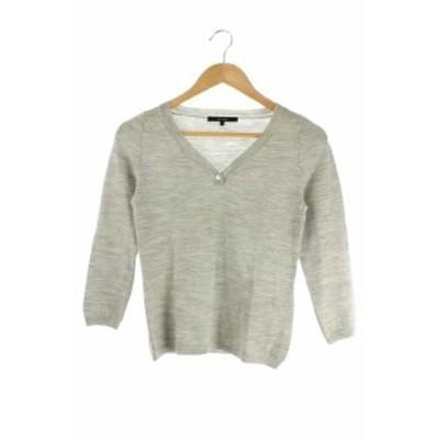 【中古】マカフィー MACPHEE トゥモローランド ニット セーター 七分袖 1 グレー /HK レディース