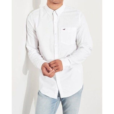 Hollister ホリスター メンズ  コットン長袖シャツ Stretch Oxford Slim Fit Shirt ホワイト