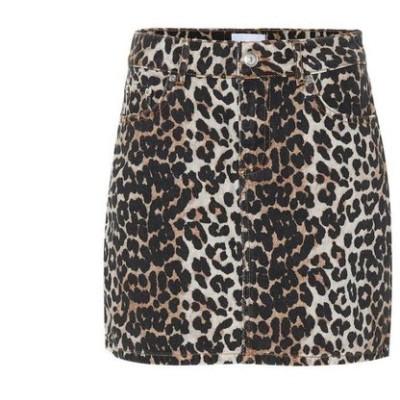 ガニー Ganni レディース ミニスカート スカート Leopard-print denim miniskirt Leopard