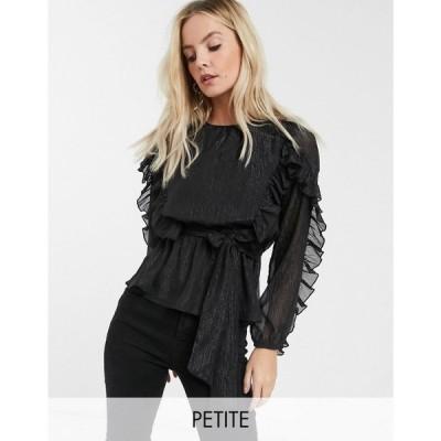 リバーアイランド River Island Petite レディース ブラウス・シャツ トップス ruffle blouse in black ブラック