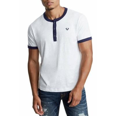 メンズファッション トゥルーレリジョン メンズ True Religion Men's Contrast Embroidery Logo Henley Shirt Top - 100045 Size XXXL