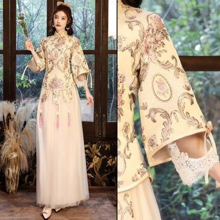 伴娘服洋裝 中式秀禾 2021新款香檳色伴娘團姐妹裙中國風創意禮服秋冬季