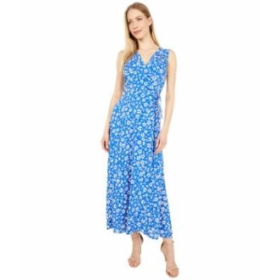 カルバンクライン レディース ワンピース トップス Rayon Challis Floral Print Maxi Dress Klein Blue Mult