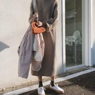ゆったり感 ニット セーター ワンピース かわいい オーバーサイズ Aライン Uネック コットン カジュアル シンプル プルオーバー 大人