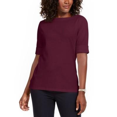 ケレンスコット レディース シャツ トップス Petite Cotton Elbow-Sleeve T-Shirt