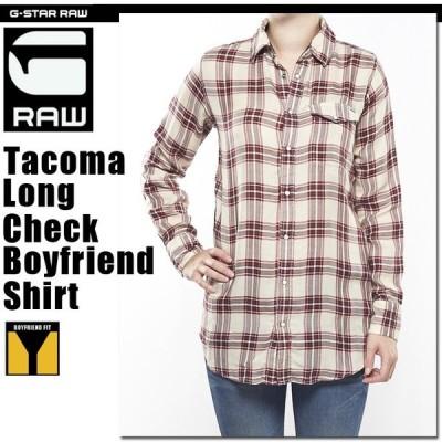G-STAR RAW (ジースターロゥ) Tacoma Long Check Boyfriend Shirt (ロングタコマチェックボーイフレンドシャツ) チェック ボーイフレンド ロングシャツ