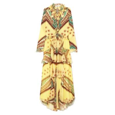 エトロ ETRO ロングワンピース&ドレス ライトイエロー 38 シルク 100% ロングワンピース&ドレス
