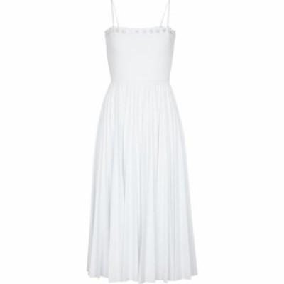レッド ヴァレンティノ REDValentino レディース ワンピース ミドル丈 ワンピース・ドレス Laser-cut pleated midi dress Bianco