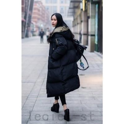 ダウンジャケット 中綿 ダウンコート 冬アウター ロング丈 レディース ファション 暖かい 帽子付き