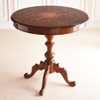 テーブル ダイニングテーブル ダイニングテーブル 上質な違いの象嵌 猫足テーブル 直径75cm AT-BT-3308-N 高級感 アンティーク  イタリアンクラシック