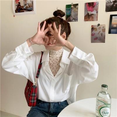 春夏定番の人気商品 短いスタイル 気高い 韓国 ラペル レース 縫付 偽の二つ ブラウス トップス 長袖