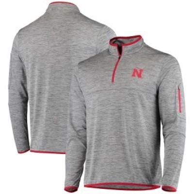 """メンズ ジャケット """"Nebraska Cornhuskers"""" Colosseum Maclaren Quarter-Zip Jacket - Heathered Gray"""