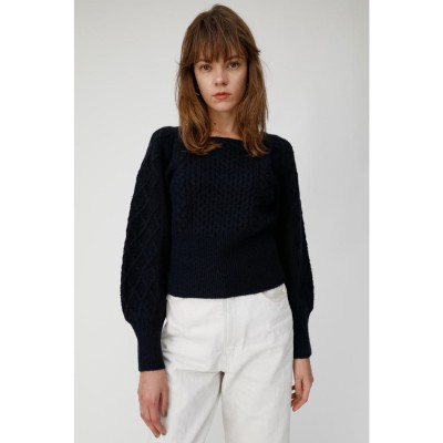 マウジー moussy SQUARE NECK PUFF SHOULDER KNIT (ダークネイビー)