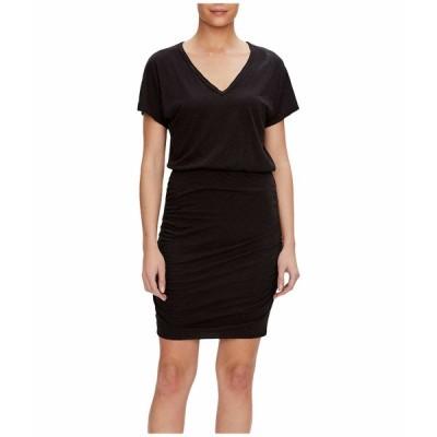 マイケルスターズ ワンピース トップス レディース Odessa Supima Cotton Slub V-Neck Dress Black