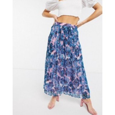 エイソス レディース スカート ボトムス ASOS DESIGN pleated midi skirt in floral print Floral print